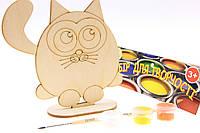 """Набор-Раскраска 3D для детей """"Счастливый Котенок"""" из дерева на подставке с кисточкой и красками"""