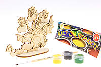"""Набор-Раскраска 3D для детей """"Змей Горыныч"""" из дерева на подставке с кисточкой и красками"""