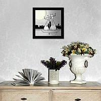 """Картина на узкую стену """"Котики. Любовь под луной"""""""