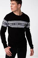 Черный мужской свитер De Facto / Де Факто в белый рисунок