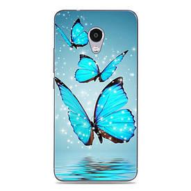 Силиконовый чехол для Meizu M5C с рисунком три синие бабочки