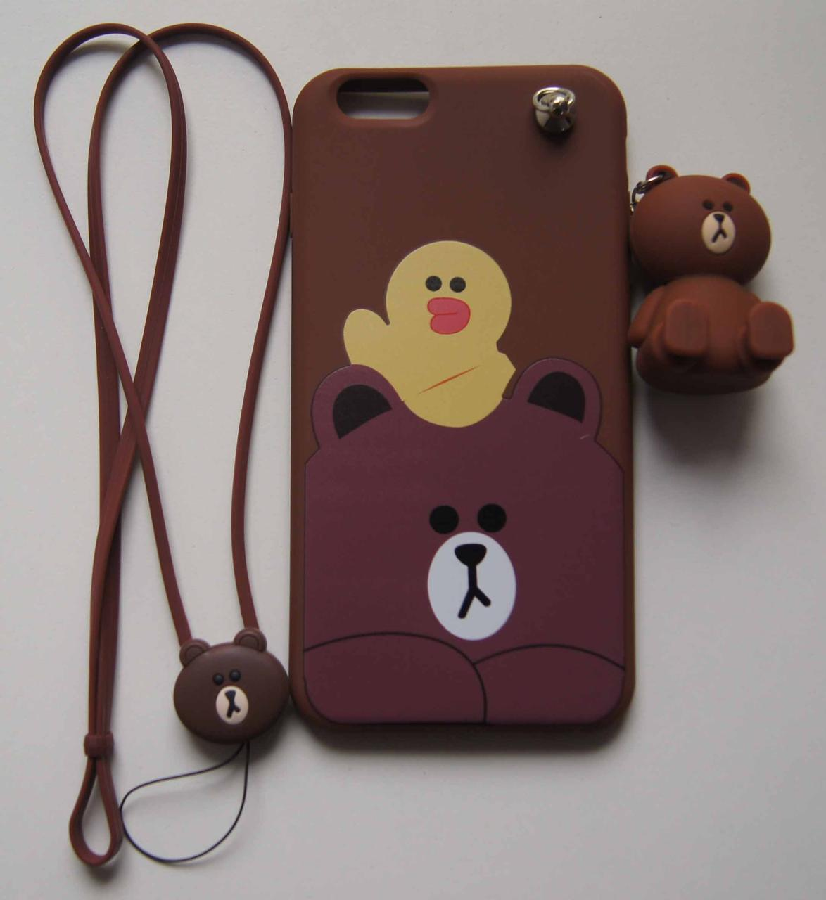 Силиконовый чехол для iPhone 6 Plus / 6S Plus Коричневый с мишками и брелком