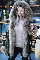 В9135 Парка зимняя с натуральным мехом