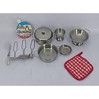 Посуда металл 8628-10  кастрюля,миска,венчик,шумовка,дуршлаг…в сетке