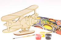 """Набор-Раскраска 3D для детей """"Самолёт Малыш"""" из дерева на подставке с кисточкой и краскам"""