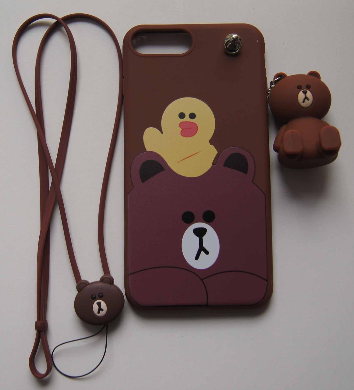 Силикон  iPhone 7+ мишка+брелок