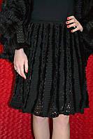 Тёплая чёрная вязаная юбка с мехом