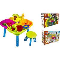 Песочный набор - столик, арт. 01-121, пасочки, грабли, лопатка, стульчик, пасочки в коробке.