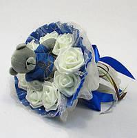 Букет из игрушек Мишка в розах синий