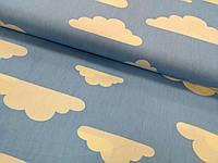 Сатин (хлопковая ткань)на голубом фоне белые тучки