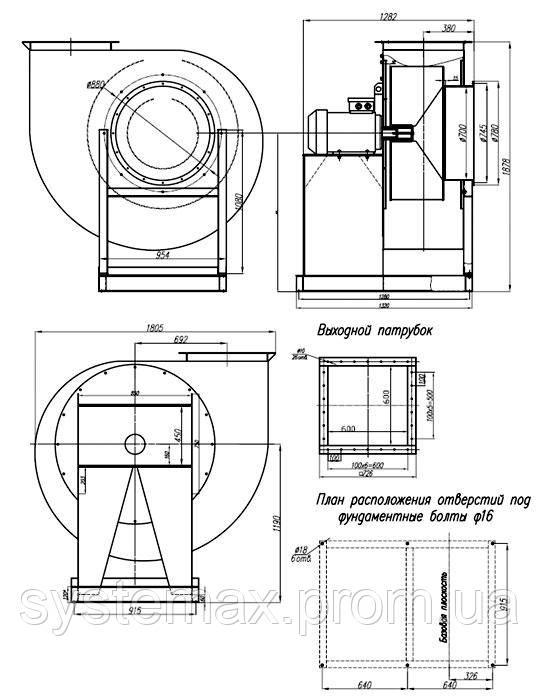 Исполнение №1 ВЦП 7-40 10 (ВРП 140-40 10) пылевой вентилятор габаритные и присоединительные характеристики чертеж