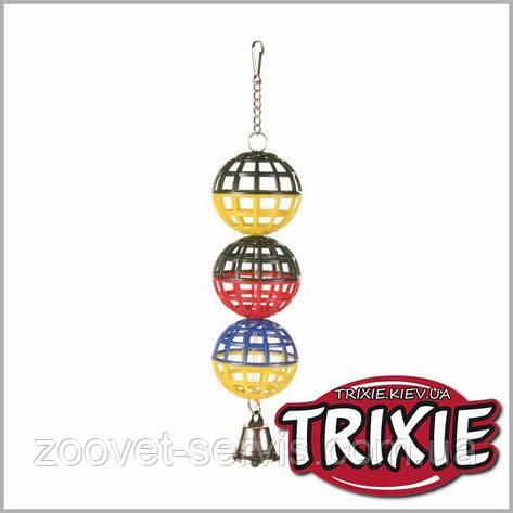 Игрушка 3 пластиковых шарика для птиц с колокольчиком TRIXIE 5251, фото 2