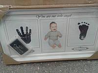 Фоторамка колаж Baby 1 фото(10*15) з відбитками ручки і ніжки біла/рожева/синя (AM8732), фото 1
