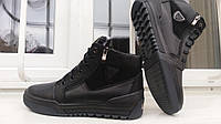 Зимние  кожаные ботинки Ecco на змейке