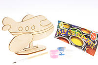 """Набор-Раскраска 3D для детей """"Самолёт"""" из дерева на подставке с кисточкой и краскам"""