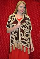 Тёплый вязаный шарф с мехом