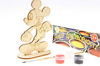 "Набор-Раскраска 3D для детей ""Микки Маус"" из дерева на подставке с кисточкой и краскам"