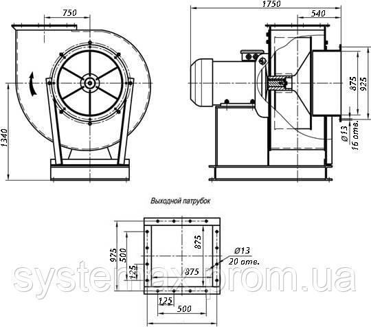 Исполнение №1 ВЦП 7-40 12,5 (ВРП 140-40 12,5) пылевой вентилятор габаритные и присоединительные характеристики чертеж