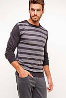 Серый мужской свитер De Facto / Де Факто в полоску