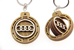 Брелок для ключей деревянный с вращающимся логотипом Audi (Ауди)