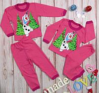 Детская пижама новогодняя на девочку розовая,на байке,принт Снеговичок рост от 86 до 134см