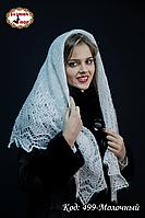 Оренбургский молочный пуховый платок Аврора 100 см