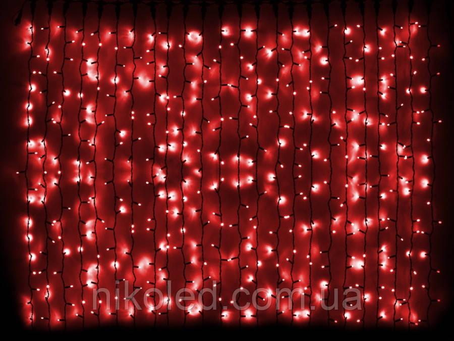Гирлянда DELUX CURTAIN внешняя 2х1,5м красный цвет