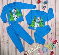 Детская пижама новогодняя на байке,принт Снеговичек
