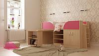 """Кровать детская """"Пумба"""" трансформер с столом и шкафом Lion"""
