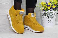 Кроссовки женские Nike Air Max 87 Зима. Замша Мех 100% Желтые