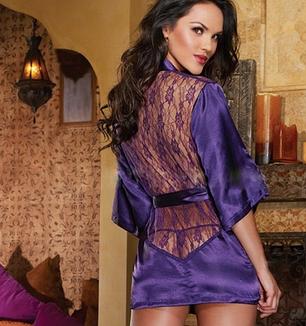 Сексуальный халат фиолетовый, фото 2
