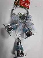 """Новогодняя подвеска """"Три колокольчика"""" голубая длин.26см"""