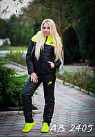 Тёплый женский лыжный зимний костюм NIKE лимонный 42 44 46 48