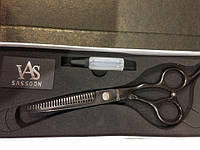 Филировочные ножницы для волос Global (черное напыление)