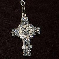 Срібний підвісок хрест з цирконами