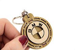 Брелок для ключей деревянный с вращающимся логотипом BMW (БМВ)