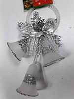 """Новогодняя подвеска """"Три колокольчика"""" серебристая длин.26см"""