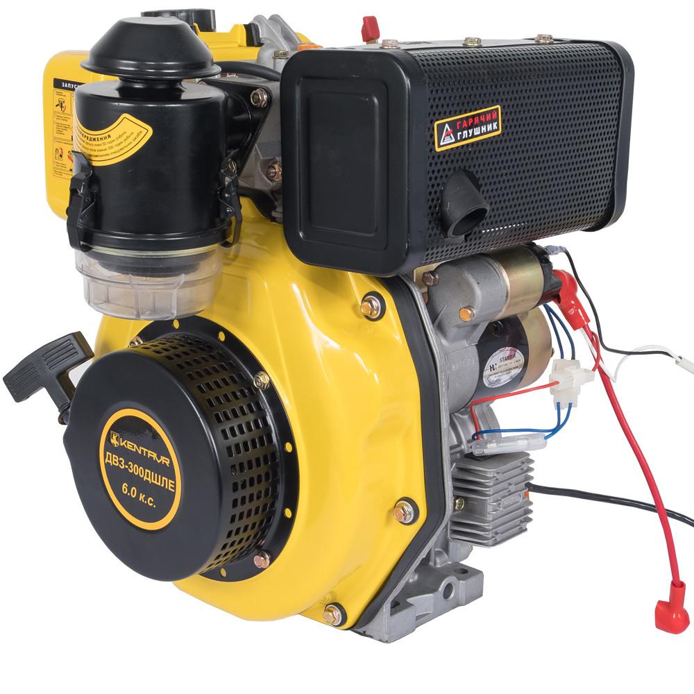 Двигатель дизельный Кентавр ДВУ-300ДШЛЕ (6 л.с., шлиц. вал 25мм, электростарт)