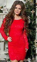 Красное вечернее платье гипюр