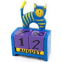 Календарь деревянный на стол Кот синий
