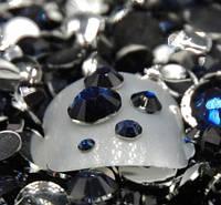 Стразы для ногтей 2-6 мм, 100 шт, темно синие, фото 1