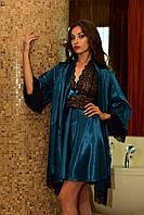 Домашний атласный халат с пеньюаром цвета морской волны Шанталь