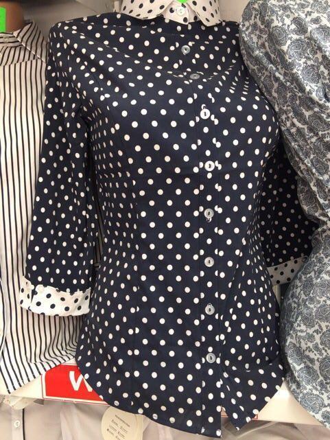 Женская блузка с рукавом три четверти  синяя в горох размер 42-50