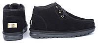 Ботинки топ-сайдеры мужские UGG Australia черные замшевые низкие на шнуровке, Черный, 46