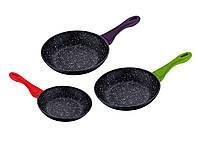 Набор сковородок 3 пр с мраморным антипригарным покрытием RENBERG RB-2525