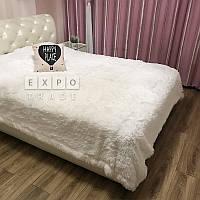 Плед покрывало на 2 спальную кровать мех травка (220х240), белый