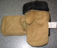 Рукавицы варежки армейские овчина (черный мех)