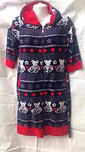 Женский халат велюровый средней длины с коротким рукавом и капюшоном 46-50р