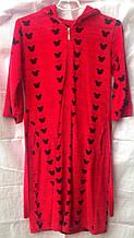 Велюровый женский халат средней длины с капюшоном  на  змейка с коротким рукавом 46-50р