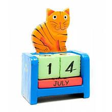 Календарь Кот настольный деревянный